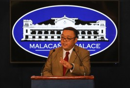 Newly-appointed Presidential Spokesperson Harry Roque conducts his first briefing in Malacanang Palace on Thursday. Photo by Jansen Romero